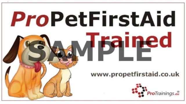 Trained in canine first aid by Pro Pet First Aid
